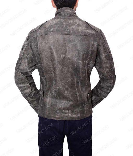 Slimfit Grey Waxed Café Racer Leather Jacket For Men