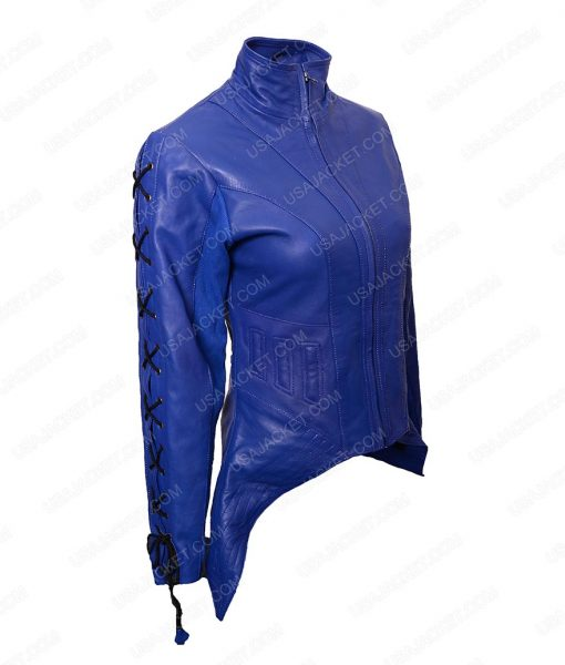 Dutch Killjoys Hannah John Kamen Lace Up Design Blue Leather Jacket