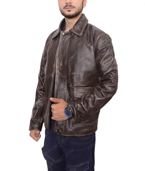 Harrison Ford Indiana Jones Dropdown Collar Leather Brown Jacket