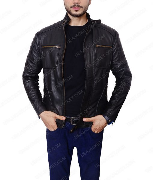 John Barrowman Arrow Malcolm Merlyn CafeRacer Black Leather Jacket