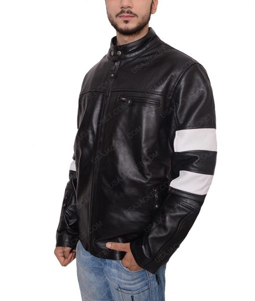 John Wick 2 Keanu Reeves Slimfit Black Cafe Racer Leather Jacket