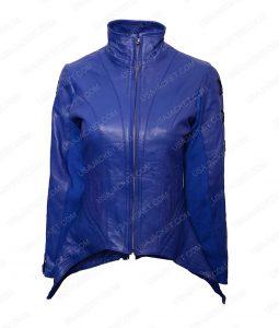 Hannah John Kamen Lace Up Design Blue Leather Jacket