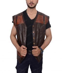 Lost Girl Dyson Thornwood Brown Leather Vest