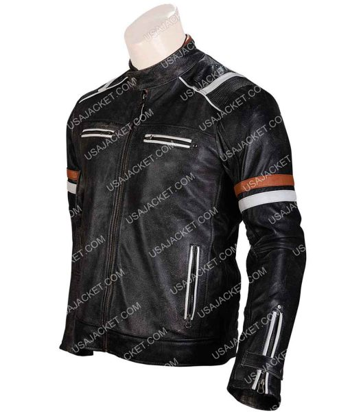 Black Retro Cafe Racer Leather Jacket
