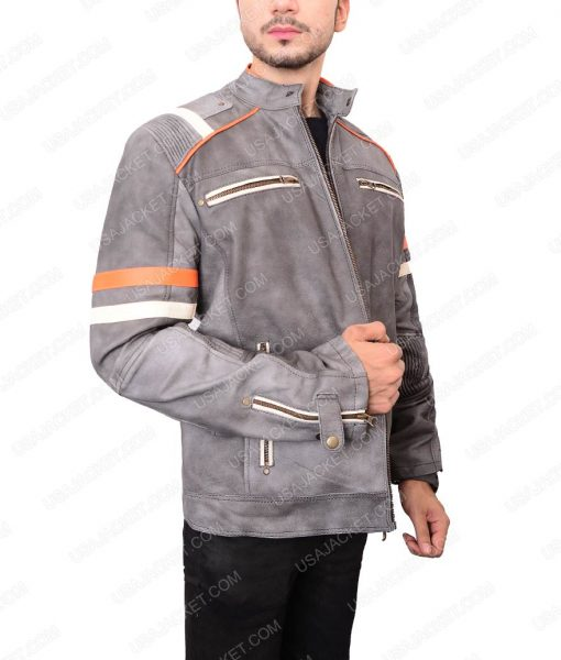 Gray Cafe Racer Leather Jacket For Men