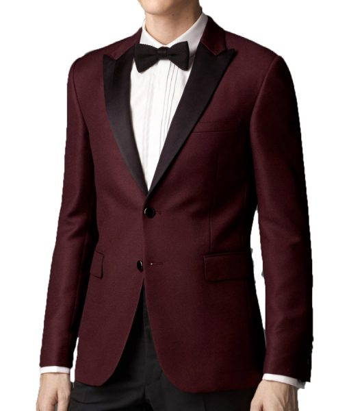 Men Maroon Slimfit Tuxedo jacket