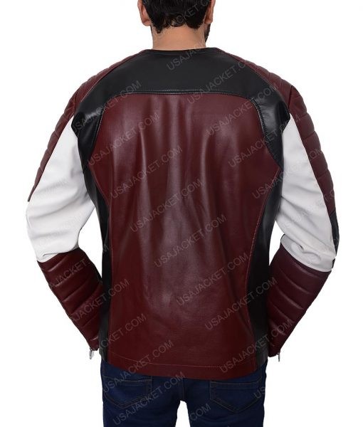 Padded Shoulder Red And Black Jacket For Men