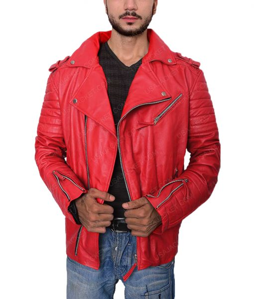 Asymmetrical Style Padded Red Leather Biker Jacket