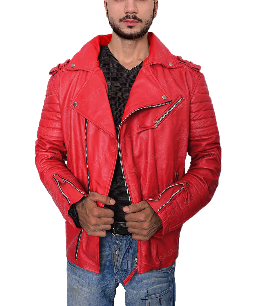 c5e318a6f Mens Asymmetrical Style Padded Red Jacket