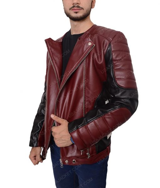 Mens Biker Padded Shoulder Red And Black Jacket
