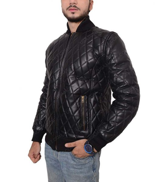 Mens Black Quilted Slimfit Bomber Jacket