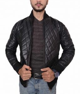 Mens Black Quilted Slimfit Bomber Leather Jacket
