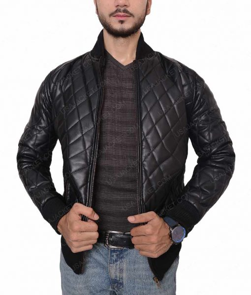 Mens Black Quilted Slimfit Jacket
