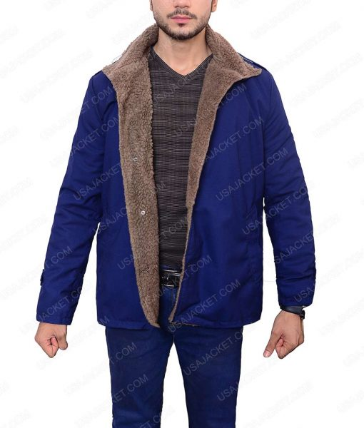Single Breasted Blue Wool Shearling Jacket For Men