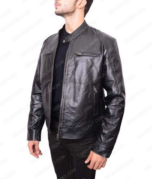 Black Slimfit Café Racer Leather Jacket