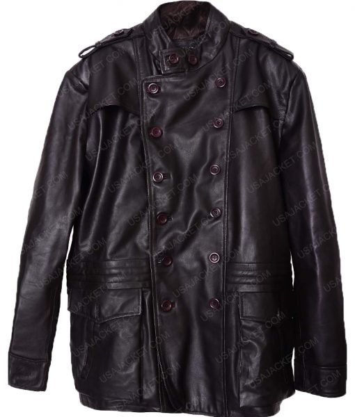 Mens Double Breasted Dark Brown Leather Jacket