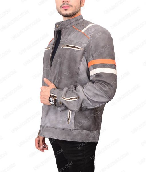 Mayhem Retro Mens Gray Café Racer Leather Jacket