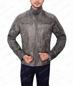 Grey Waxed Café Racer Leather Jacket For Men