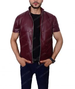 Men's Maroon Cafe racer Vest