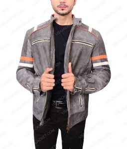 Mens Gray Cafe Racer Leather Jacket