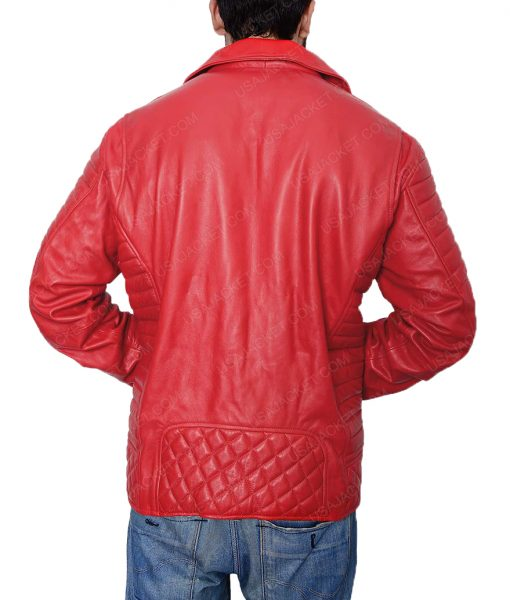 Mens Asymmetrical Style Padded Red Leather Jacket
