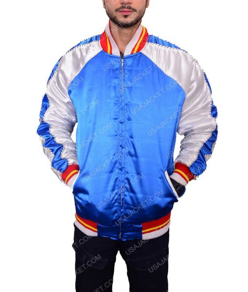 Mens Satin Blue Bomber Jacket