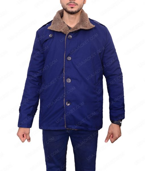Mens Single Breasted Blue Wool Shearling Jacket