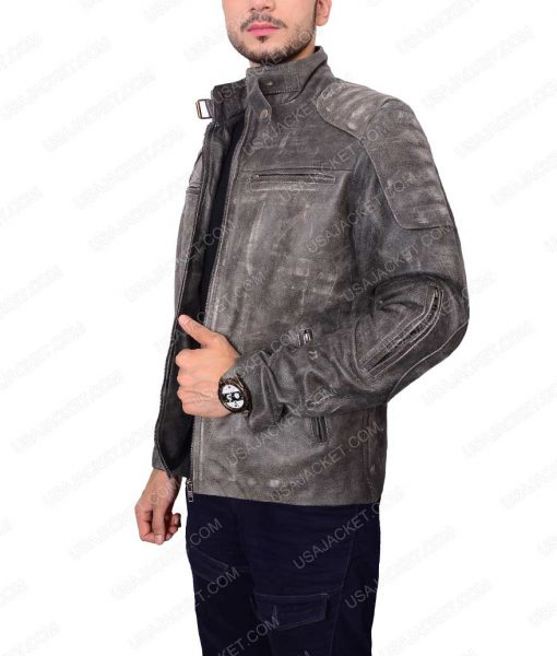 Mens Grey Waxed Café Racer Leather Jacket