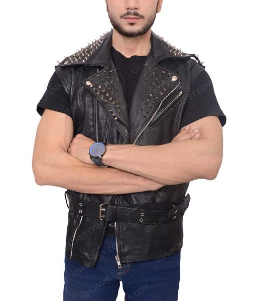Mens Studded Belted Leather Vest