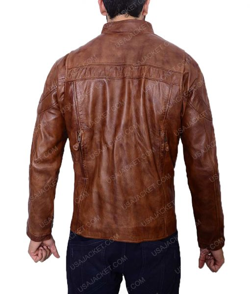 Vintage Brown Biker Slimfit Cafer Racer Leather Jacket