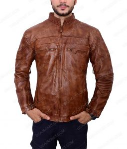 Mens Vintage Brown Biker Slimfit Cafer Racer Leather Jacket