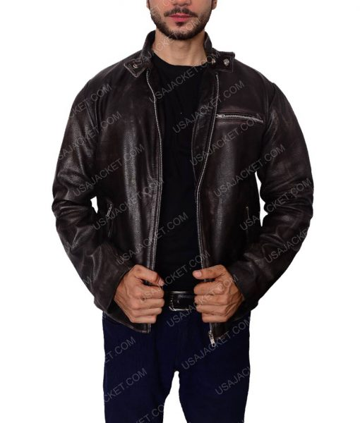 Black Motorcycle Riding Leather Jacket