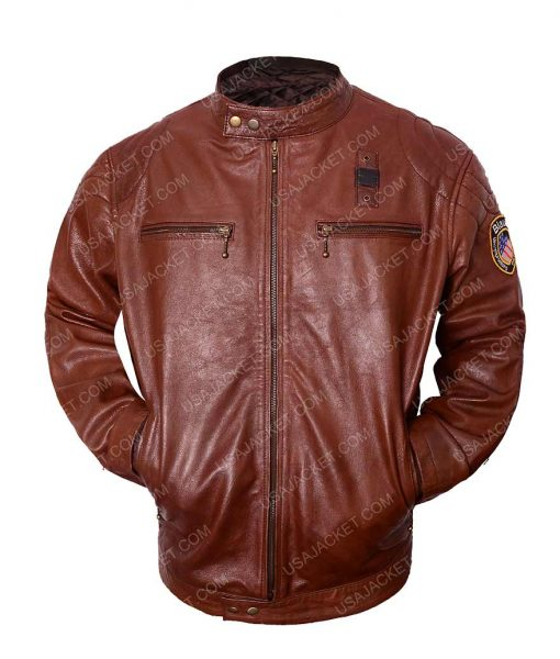 Nicholas Hoult Brown Cafe Racer Leather Jacket