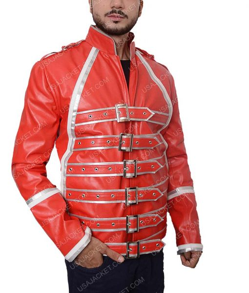 Freddie Mercury Tribute Concert Queen Rock Band Red Leather Jacket