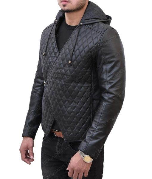 Robin Hood Quilted Leather Hooded Jacket