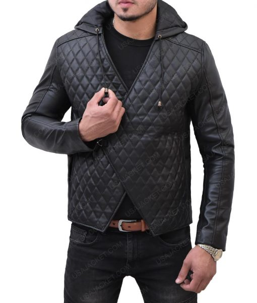 Taron Egerton Quilted Leather Hooded Jacket