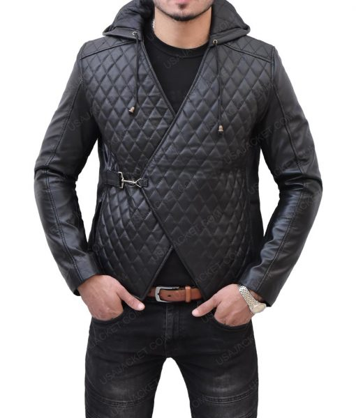 Robin Hood Taron Egerton Quilted Leather Hooded Jacket