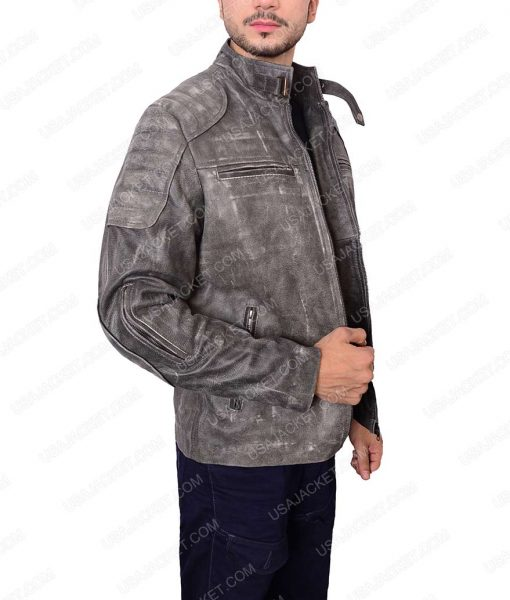 Mens Slimfit Grey Waxed Café Racer Leather Jacket
