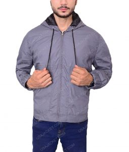 Grey Cotton Bomber Jacket