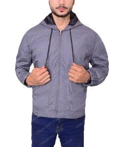 Grey Cotton Bomber Jacket