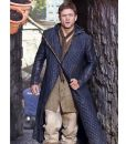 Robin Hood Taron Egerton Black Quilted Leather Hooded Coat