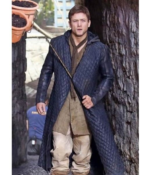 Taron Egerton Black Quilted Hooded Leather Trench Coat
