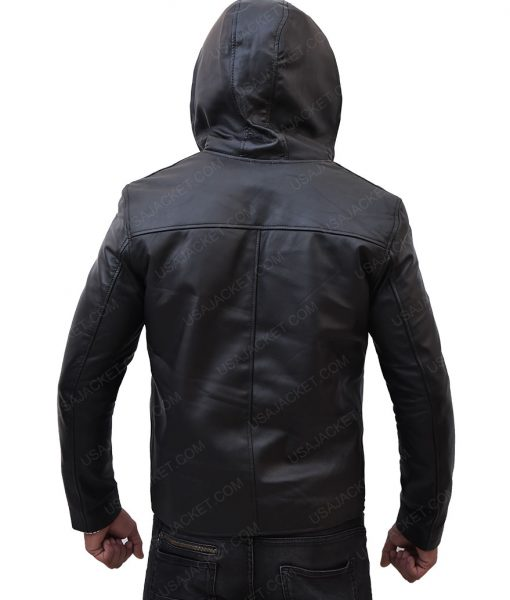 Taron Egerton Leather Hooded Jacket