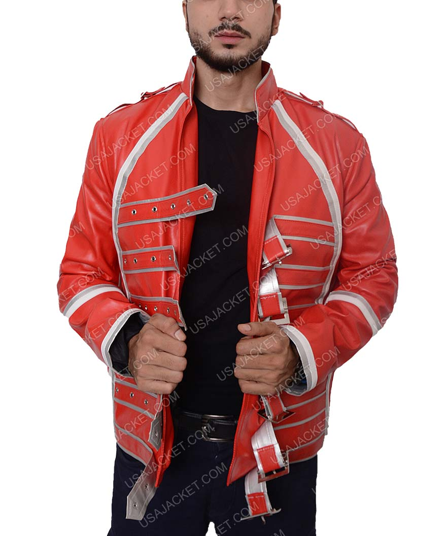 Freddie Mercury White and Red Men/'s Concert Leather Jacket