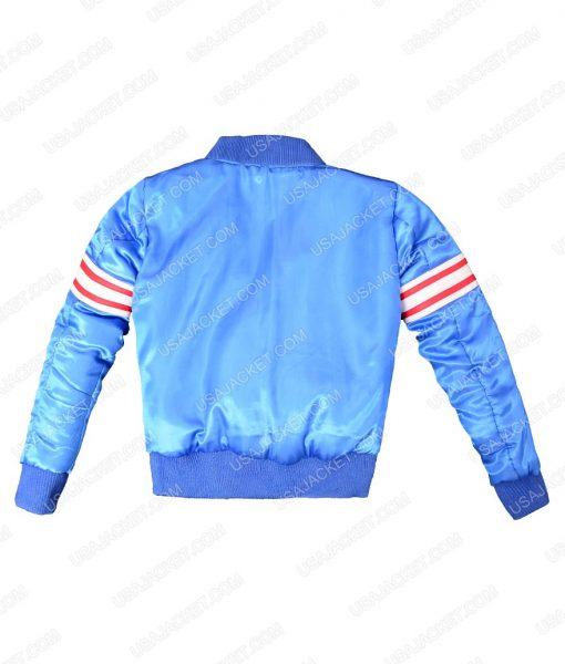 Demetrius Shipp All Eyez on Me Tupac Shakur Blue Satin Jacket