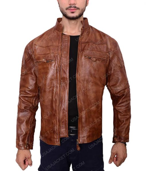 Mens Vintage Brown Slimfit Cafe Racer Jacket