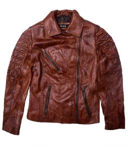 Biker Tan Brown Leather Jacket For Women