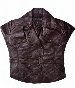 Womens Lambskin Belted Safari Brown Leather Jacket