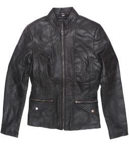 Womens Lambskin Black Leather Scuba Jacket