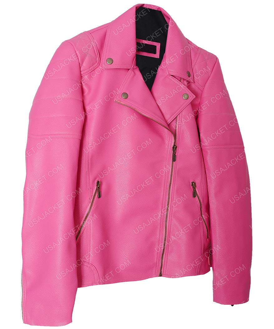 offer clear and distinctive best place Womens Pink Faux Quilted Leather Jacket